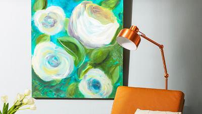 Как изобразить цветы в интерьере
