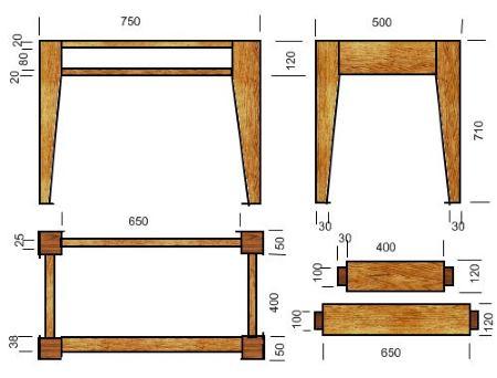 Размеры деталей стола