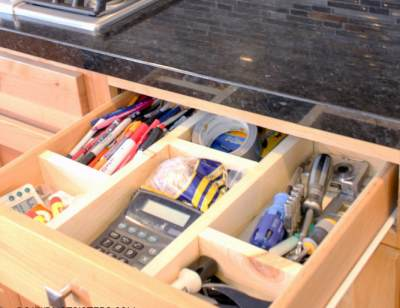 Как сделать секции в выдвижном ящике